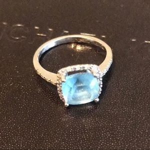 Cushion-Cut Blue Topaz Ring in 14K White Gold